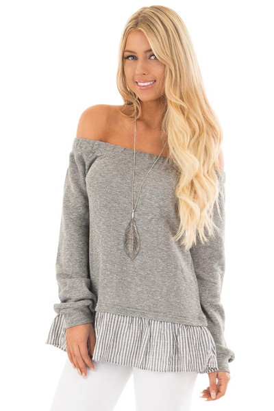 Heather Grey Knit Off Shoulder Top with Striped Peplum Trim front close up