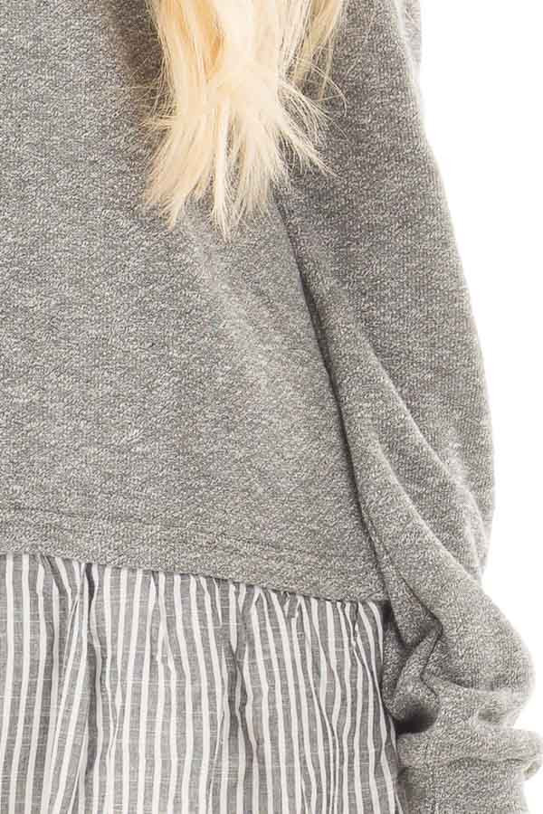 Heather Grey Knit Off Shoulder Top with Striped Peplum Trim detail