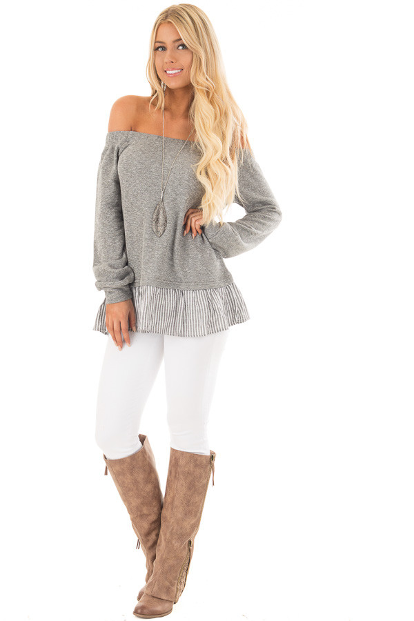 Heather Grey Knit Off Shoulder Top with Striped Peplum Trim front full body
