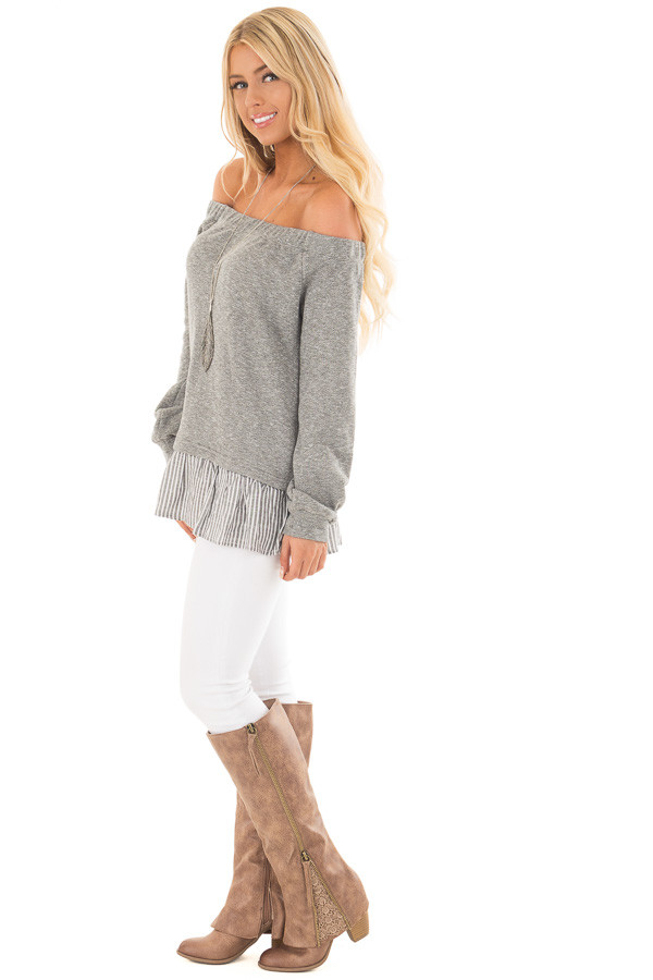 Heather Grey Knit Off Shoulder Top with Striped Peplum Trim side full body