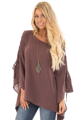 Dark Mocha Draped Top with Tied Sleeve Detail front close up