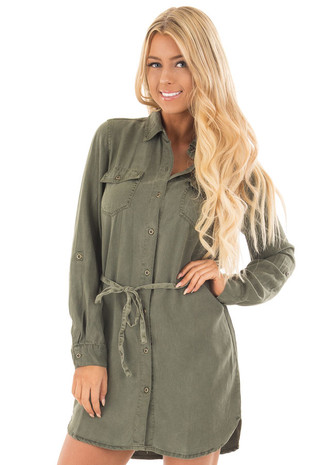 Olive Button Up Soft Shirt Dress with Waist Tie Detail front close up