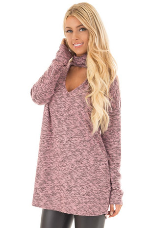 Rose Two Tone Knit Sweater with Keyhole Neckline Detail front close up