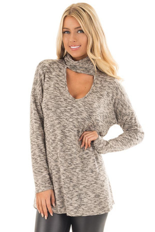 Taupe Two Tone Knit Sweater with Keyhole Neckline Detail front close up