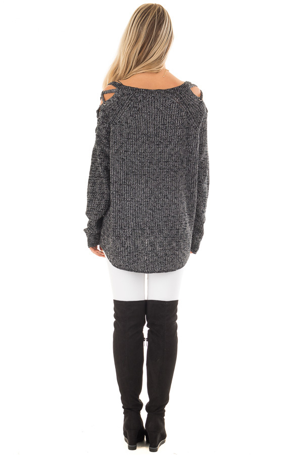 Black Two Tone Sweater with Lace Up Cold Shoulders back full body
