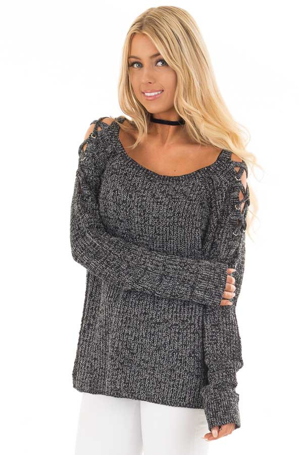 Black Two Tone Sweater with Lace Up Cold Shoulders front close up