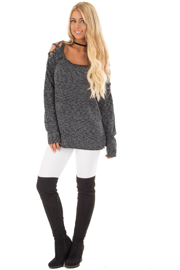 Black Two Tone Sweater with Lace Up Cold Shoulders front full body