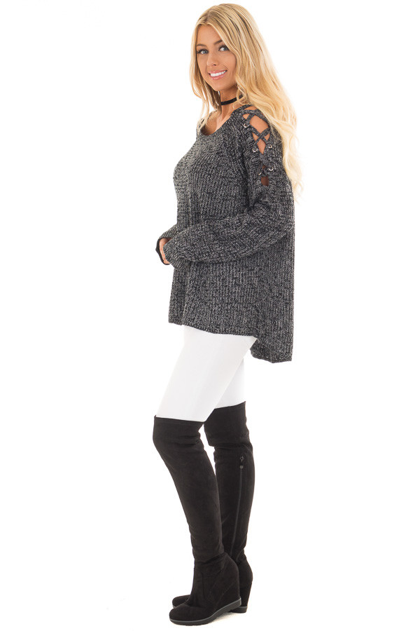 Black Two Tone Sweater with Lace Up Cold Shoulders side full body