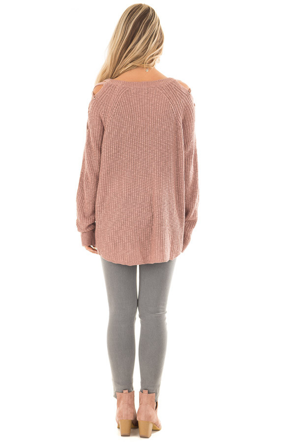 Dusty Pink Sweater with Lace Up Cold Shoulders back full body