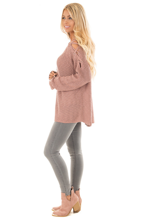 Dusty Pink Sweater with Lace Up Cold Shoulders side full body
