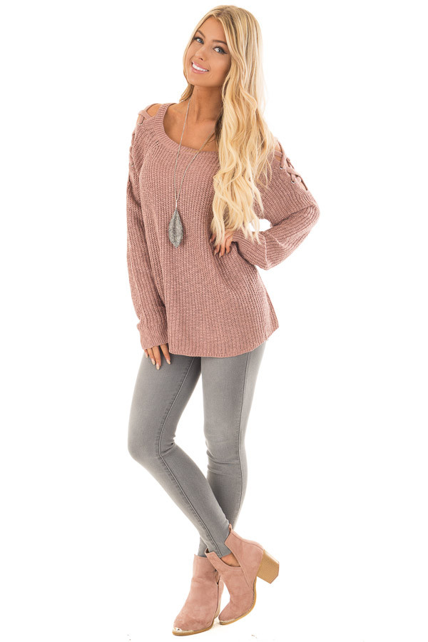 Dusty Pink Sweater with Lace Up Cold Shoulders front full body