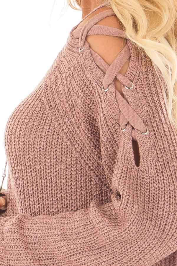 Dusty Pink Sweater with Lace Up Cold Shoulders detail