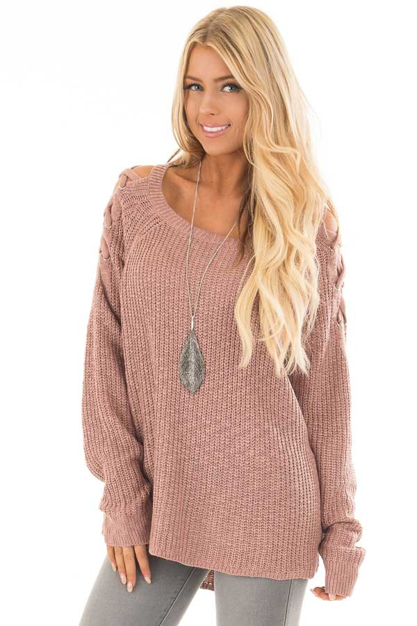 Dusty Pink Sweater with Lace Up Cold Shoulders front close up