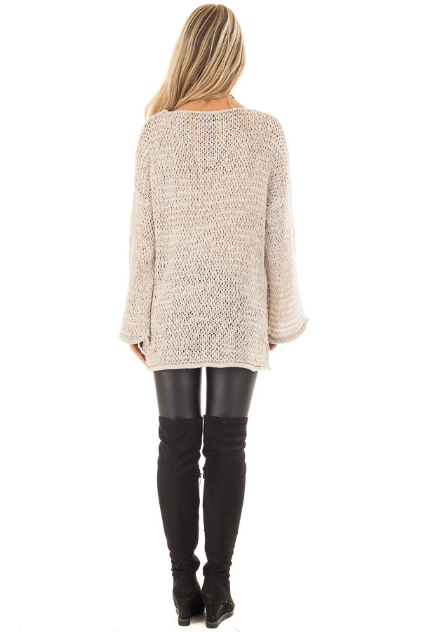 Beige Sheer Knit Long Sleeve Sweater with Side Slits back full body