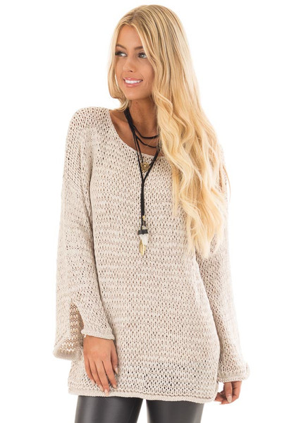 Beige Sheer Knit Long Sleeve Sweater with Side Slits front close up