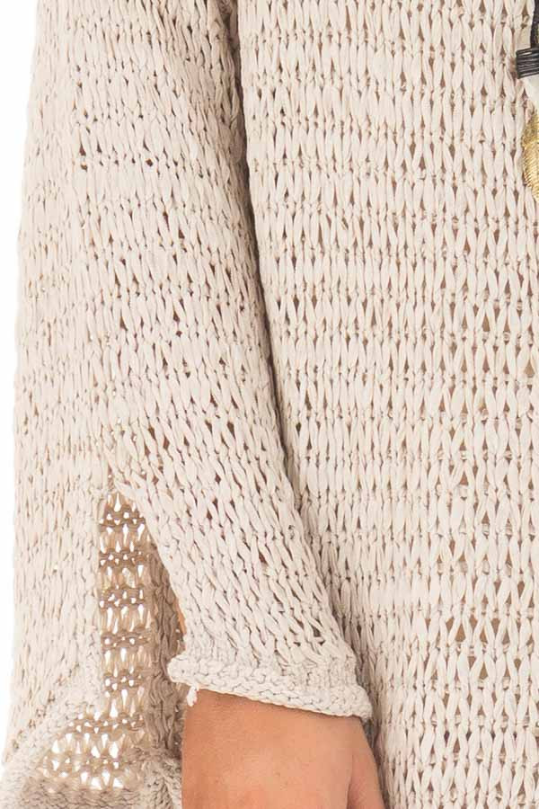 Beige Sheer Knit Long Sleeve Sweater with Side Slits detail