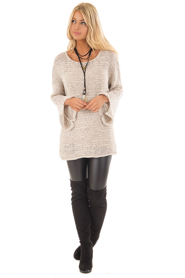 Beige Sheer Knit Long Sleeve Sweater with Side Slits front full body
