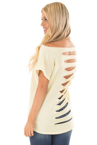 Banana Off Shoulder Knit Top with Slit Back and Tied Detail back side close up