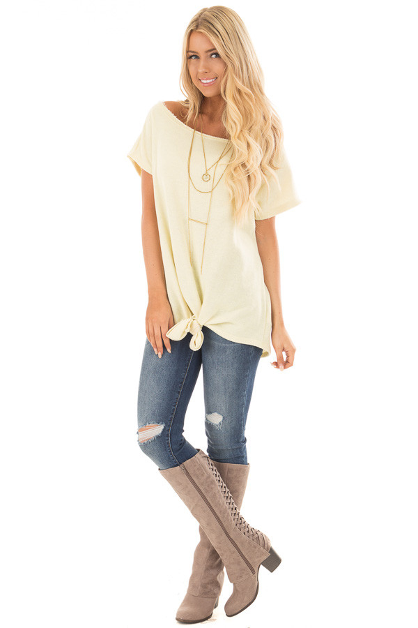 Banana Off Shoulder Knit Top with Slit Back and Tied Detail front full body