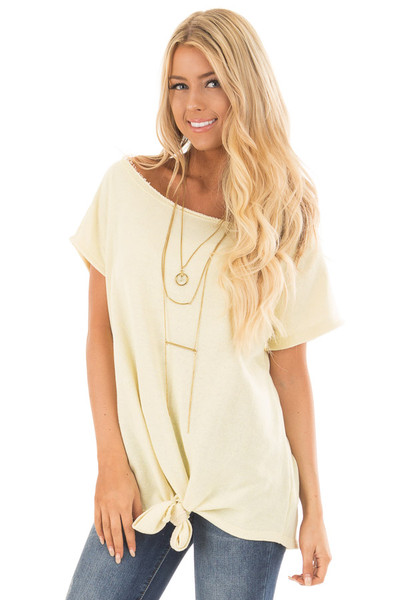 Banana Off Shoulder Knit Top with Slit Back and Tied Detail front close up
