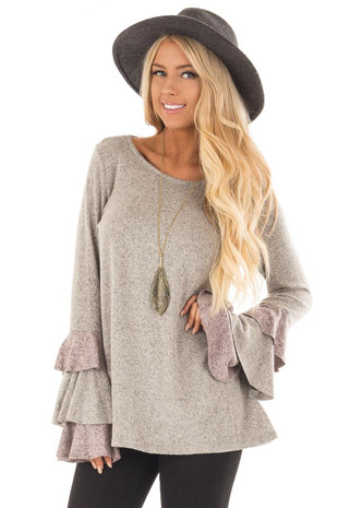 Taupe Two Tone Knit Tunic Top with Color Block Ruffle Sleeves front close up