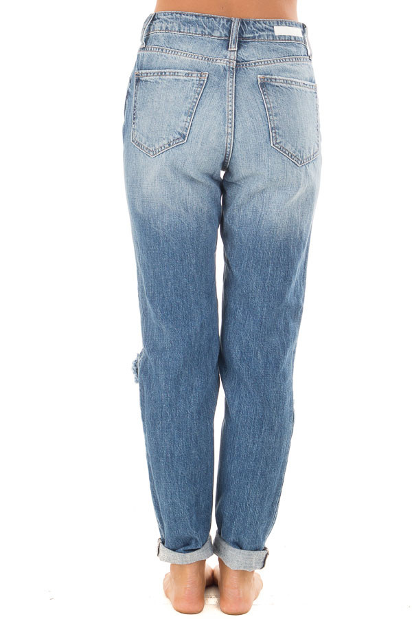 Medium Washed Denim with Rolled Up Hem and Distressed Detail back view