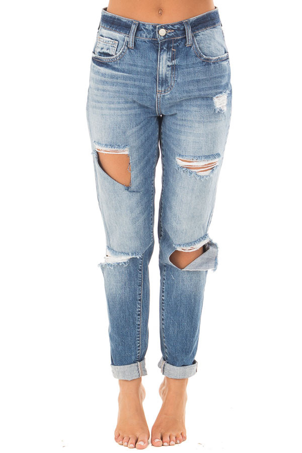 Medium Washed Denim with Rolled Up Hem and Distressed Detail front view