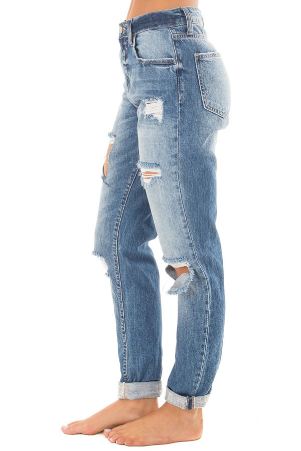 Medium Washed Denim with Rolled Up Hem and Distressed Detail side view