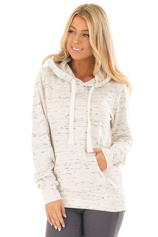 Oatmeal Two Tone Pull Over Comfy Hoodie front close up