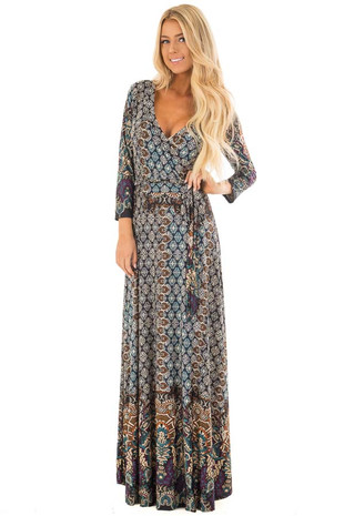 Black Multicolor Print Crossover Maxi Dress with Waist Tie front full body