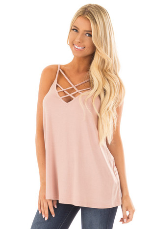 Blush Criss Cross Tank Top front close up