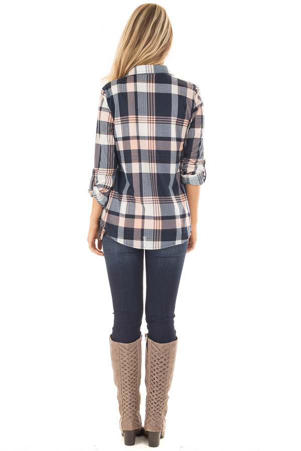 Navy and Blush Plaid Soft Button Up Top back full body