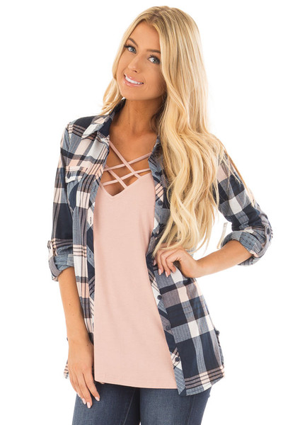 Navy and Blush Plaid Soft Button Up Top front close up