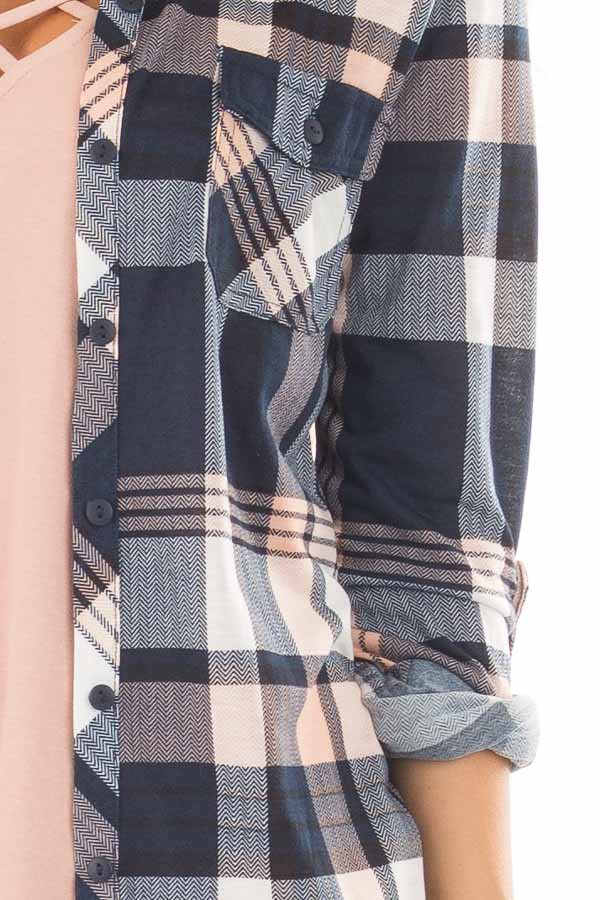 Navy and Blush Plaid Soft Button Up Top detail