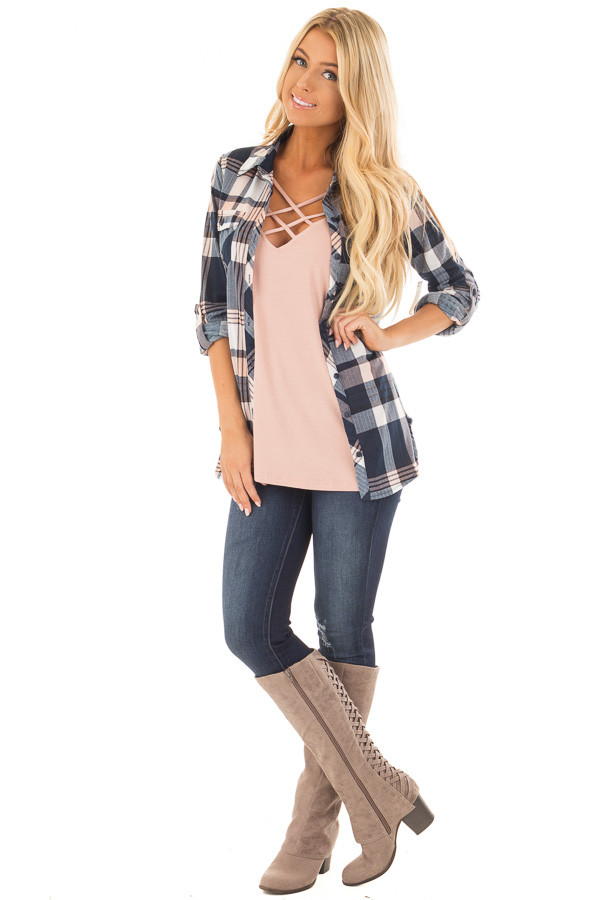 Navy and Blush Plaid Soft Button Up Top front full body