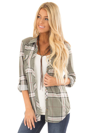 Sage and White Plaid Soft Button Up Top front close up