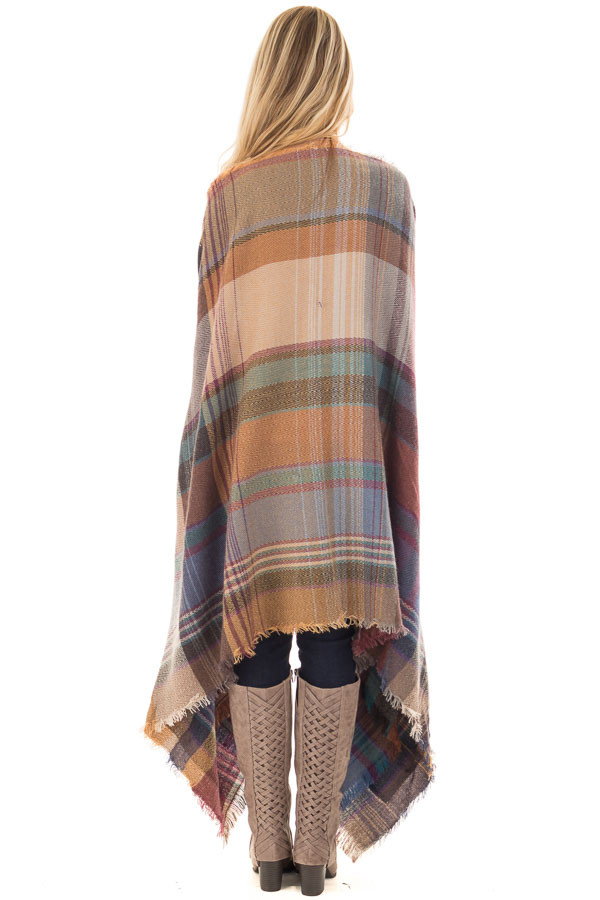 Camel Multicolor Woven Plaid Cardigan with Fringe Detail back full body