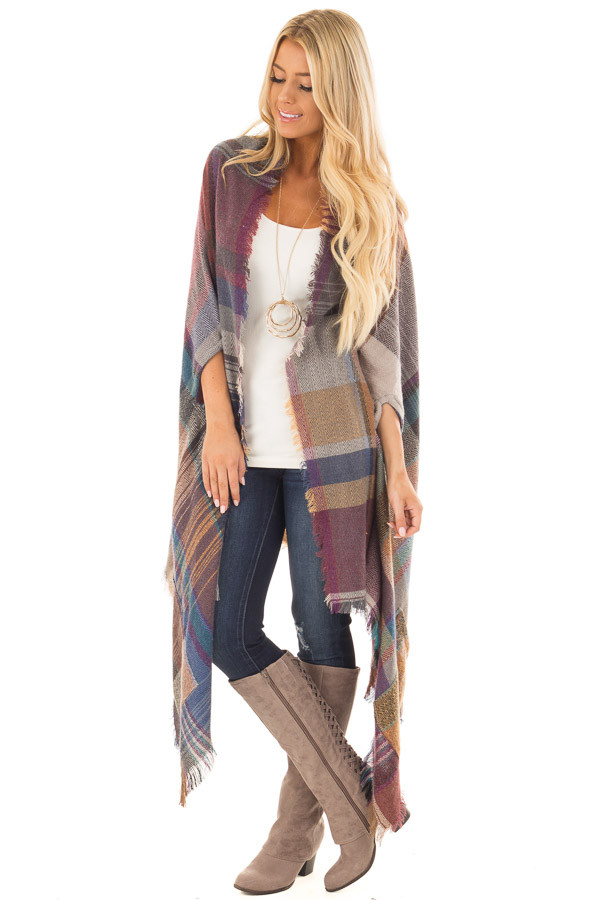 Camel Multicolor Woven Plaid Cardigan with Fringe Detail front full body