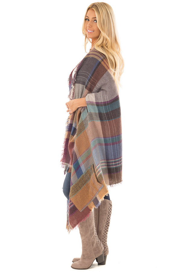 Camel Multicolor Woven Plaid Cardigan with Fringe Detail side full body
