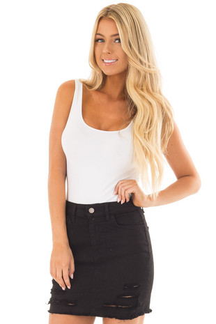 Black Denim Mini Skirt with Distressed Details front close up