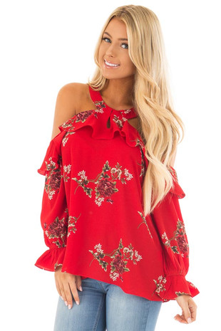 Red Floral Print Cold Shoulder Long Sleeve Blouse front close up
