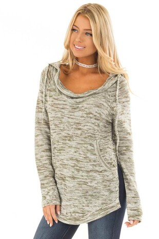 Olive Two Tone Cowl Neck Hoodie with Side Slits front close up