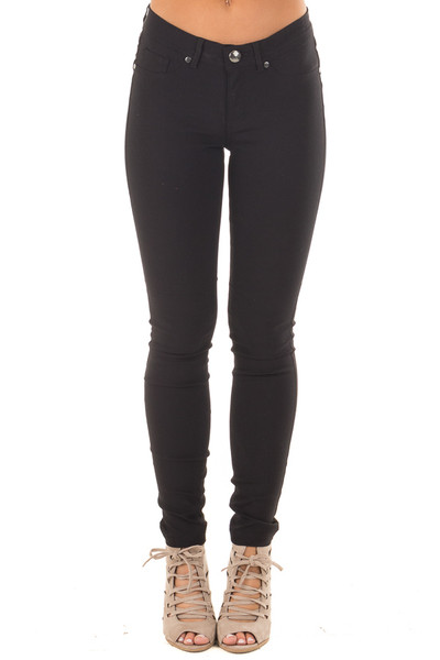 Black Solid Colored Skinny Jeans front view