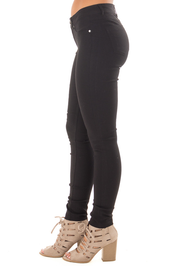 Black Solid Colored Skinny Jeans side view
