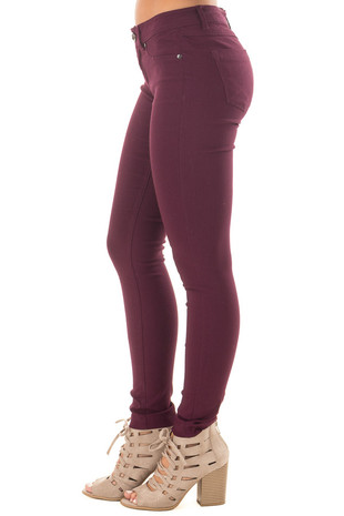 Plum Solid Colored Skinny Jeans side view