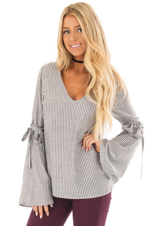 Charcoal Striped V Neck Top with Tie Detailed Flare Sleeves front close up