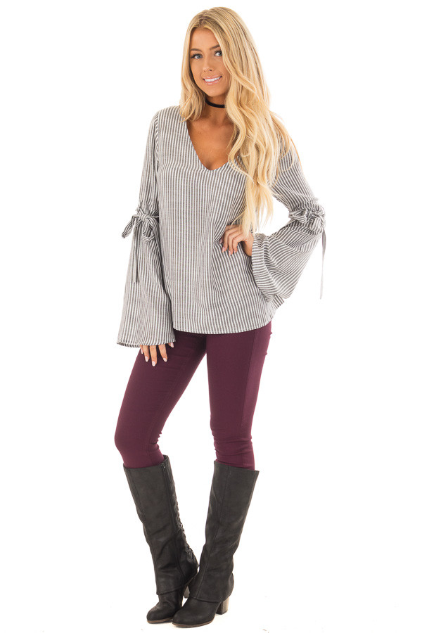 Charcoal Striped V Neck Top with Tie Detailed Flare Sleeves front full body