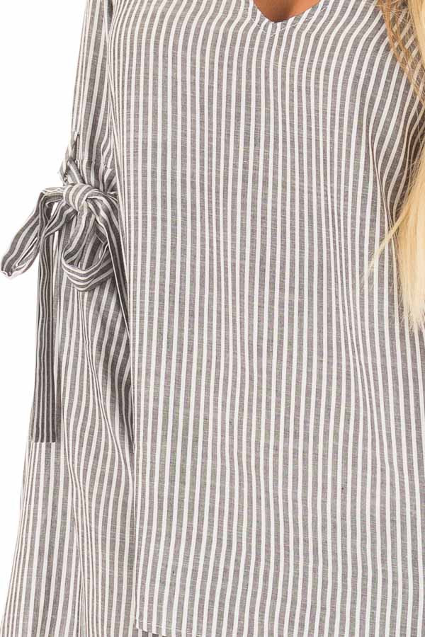 Charcoal Striped V Neck Top with Tie Detailed Flare Sleeves detail