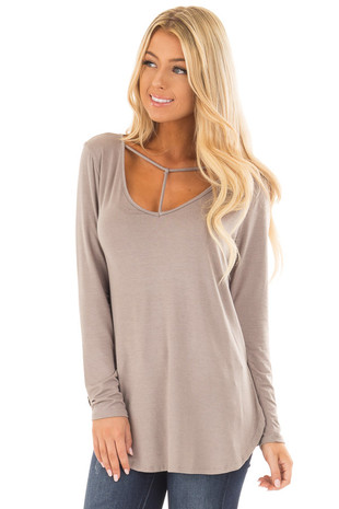 Taupe Long Sleeve Top with T Strap Neckline Detail front close up