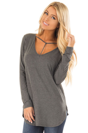 Charcoal Long Sleeve Top with T Strap Neckline Detail front close up